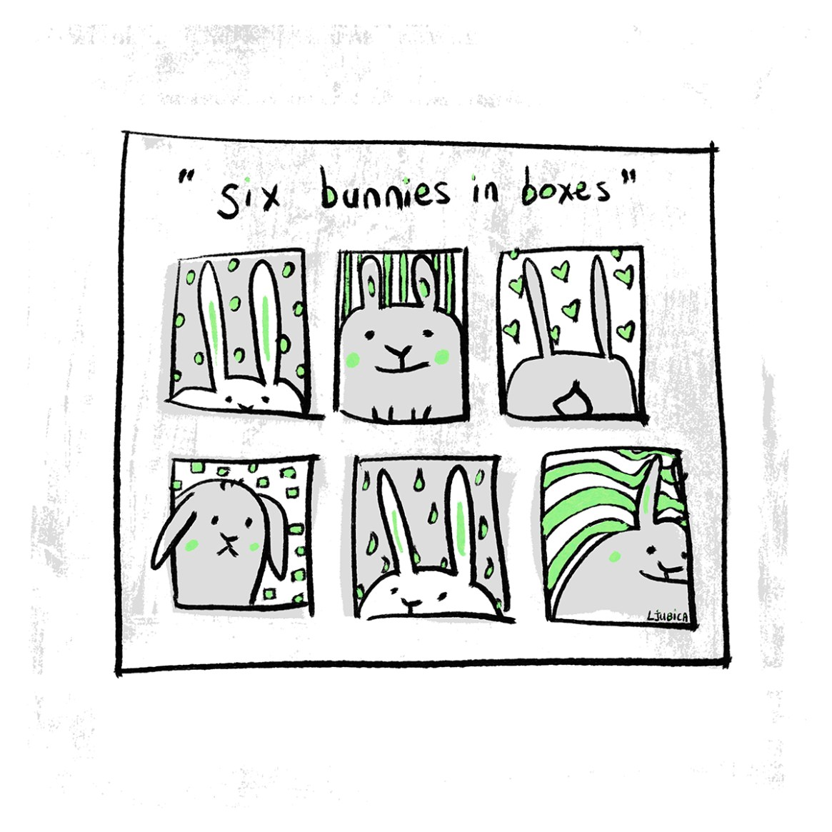 Six Bunnies in Boxes Green