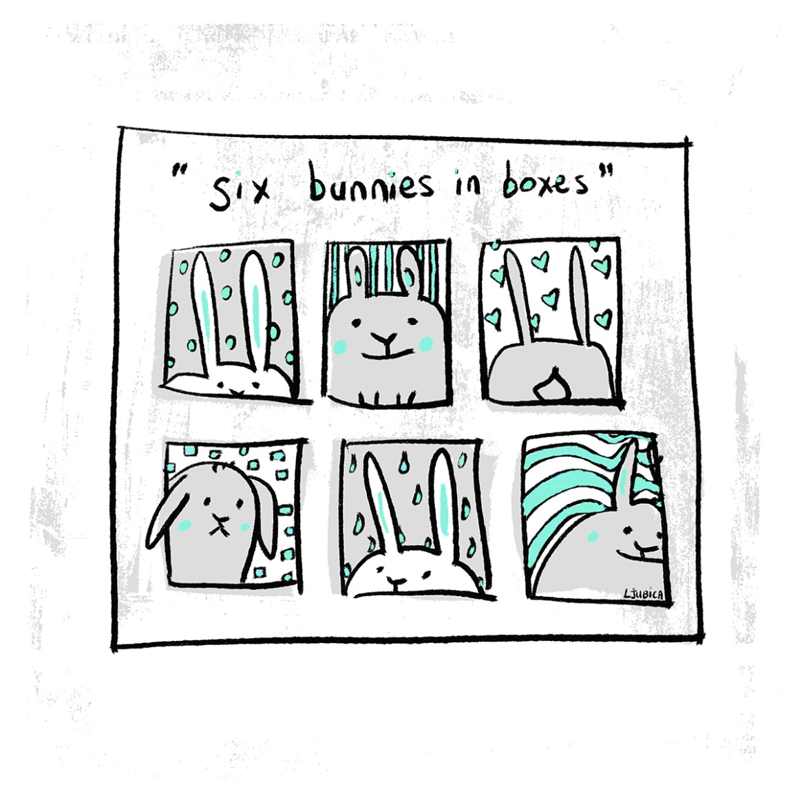 Six Bunnies in Boxes Mint