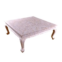 White Mother of Pearl Coffee Table by Art of Old India
