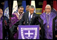 Barack Obama sings Amazing Grace at funeral for Charleston victims (June 2015)