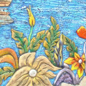 Барельеф из бетона Цветы