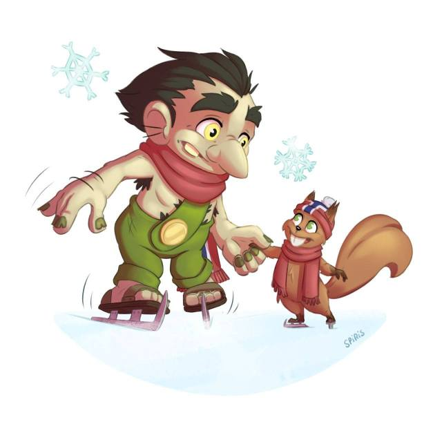 Cartoon illustration of a troll at winter sports doing ice skating with his squirrel friend.