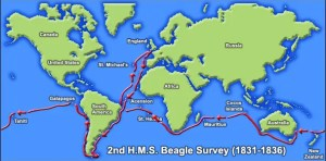 Darwin's route of passage aboard the Beagle. (Source: Aboutdarwin.com)