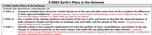 NGSS Performance expectations for grade 5 on the earth's place in space.