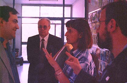 Ramon Barlam, Unnamed colleague, Anna Pinyero, and Narcis Vives in a school in Callus, Spain
