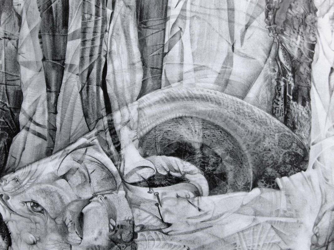 Das Monster hat sich im ungebügelten Hintergrund versteckt - graphite on paper - 2013 - 36x32cm