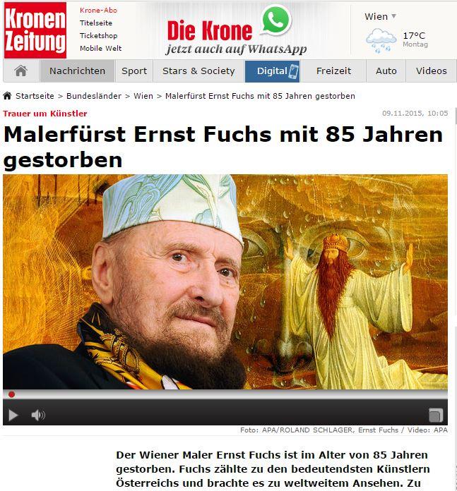 Malerfürst Ernst Fuchs mit 85 Jahren gestorben