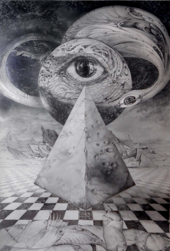 EYE OF THE DARK STAR - JOURNEY THROUGH THE WORMHOLE - graphite on paper - 2012 - 40x60cm