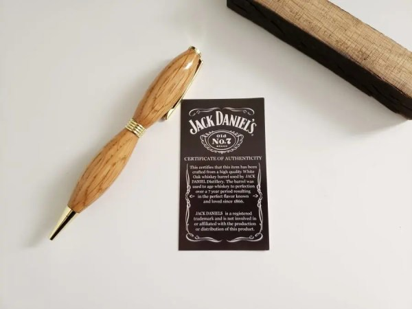 Jack Daniel's whiskey barrel wood stave pen with certificate of authenticity