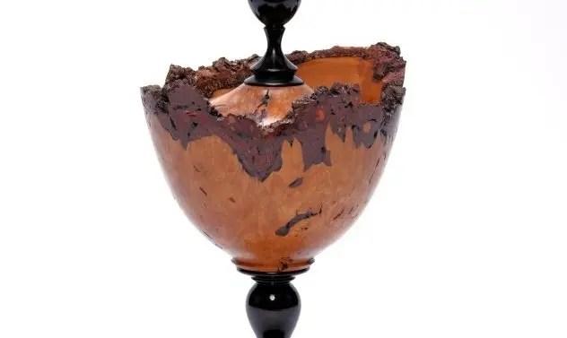 Alder Wood Burr Lidded Goblet with Finial