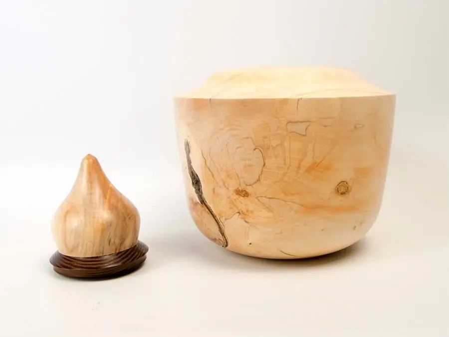 Maple Hollow Form with Wenge and Burl Lid