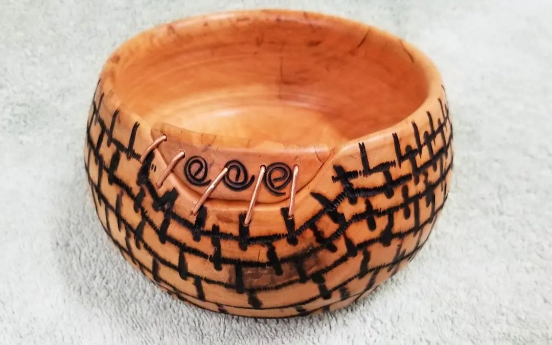 Cherry Bowl with Pyrography