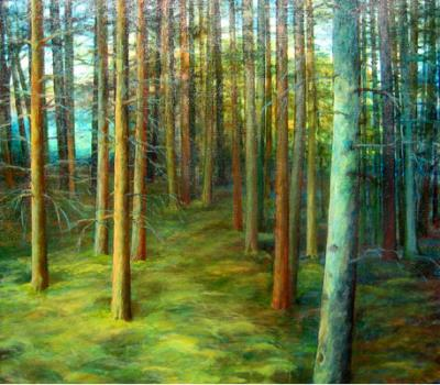 Edith Sont  Het Blauwe Bos schilderijenolieverf