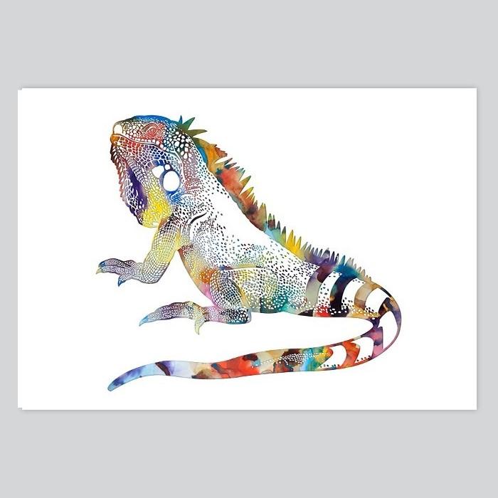 Iguana Watercolor Illustration  By Artollo