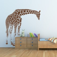 Navy Blue Yellow And Grey Living Room Small Open Plan Kitchen Designs Giraffe Big Wall Decal - By Artollo