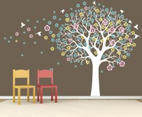Living Room Wall Murals Big Tree With Flowers - By Artollo