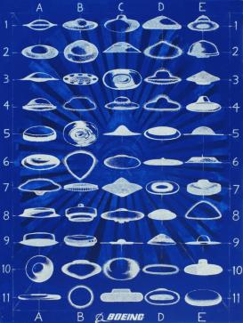 [Clin d'art #181] «Prototypes Boeing». 2014. Emmanuel Laflamme Techniques mixtes sur toile. 122 x 91,5 cm 18 $ par mois pour un particulier (taxes incluses). © L'Artothèque. Tous droits réservés.