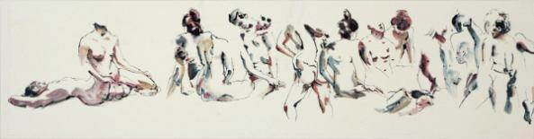 [Clin d'art #165] «Aphrodite-10». 2016. Atalante Artist. Encre noire et aquarelle sur papier chinois marouflé sur toile. 36 x 135 cm. 12 $ par mois pour un particulier (taxes incluses). © L'Artothèque. Tous droits réservés.