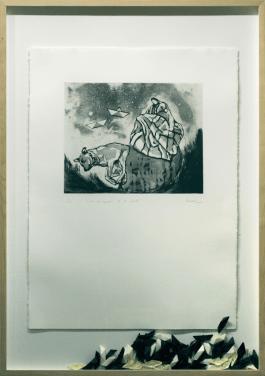 [Clin d'art #154] «Entre les cendres et les étoiles». 2008. Claudia Bernal. Eau forte, aquatinte, pointe sèche, plexiglas. 102 x 72 cm 12 $ par mois pour un particulier (taxes incluses). © L'Artothèque. Tous droits réservés.
