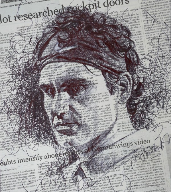Pen Drawing On Newspaper