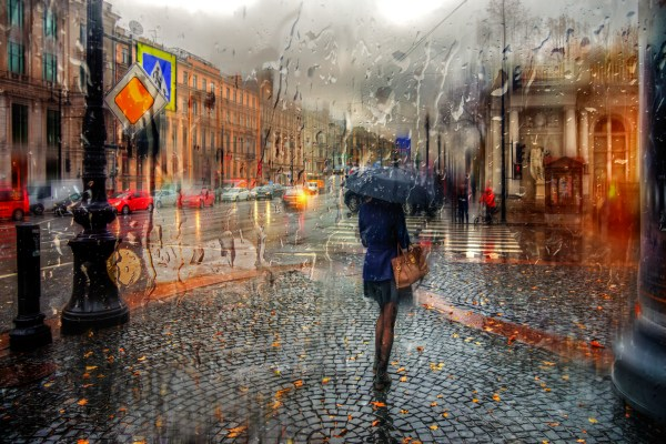 Street Rainy Day Oil Paintings