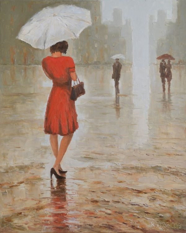 People Walking in Rain Painting