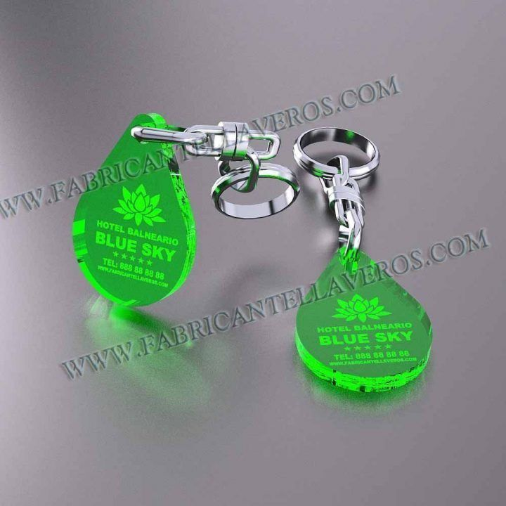 llaveros personalizados verdes baratos gota pequeña