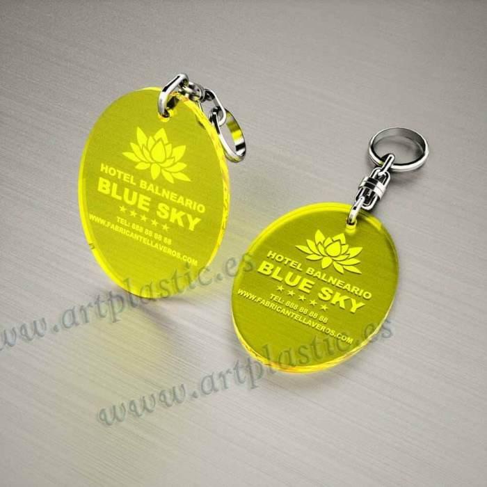 llaveros plastico personalizados originales amarillos baratos ovalados 70x50