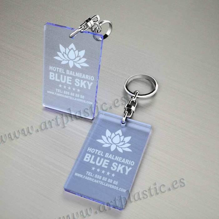 llaveros plastico personalizados originales azules baratos rectangulares 80x50