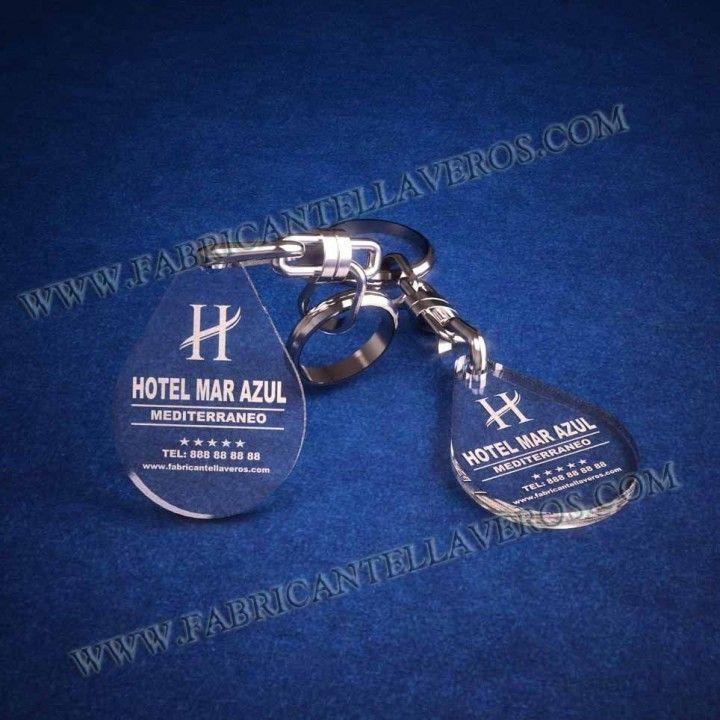 llaveros personalizados baratos grabados para hoteles gota pequeña