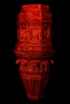 Kinnari Saraiya - . From cancelled Graduate Show 2020 - Victoria Terminus is a plinth on which the Empress of India once stood, covered in Chili Powder. Part of Artquest project The Light of Day.