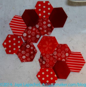 Sewn hexagons on the design wall
