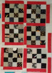 Sew cornerstone #14 to cornerstone/sashing piece #5-9