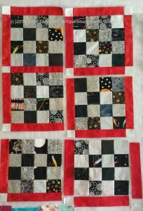 Sew sashing/cornerstone piece #19-24 to block #18