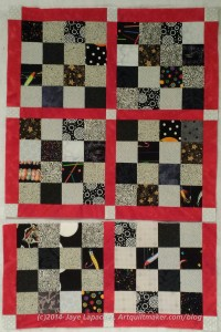 Sew the top two chunks together