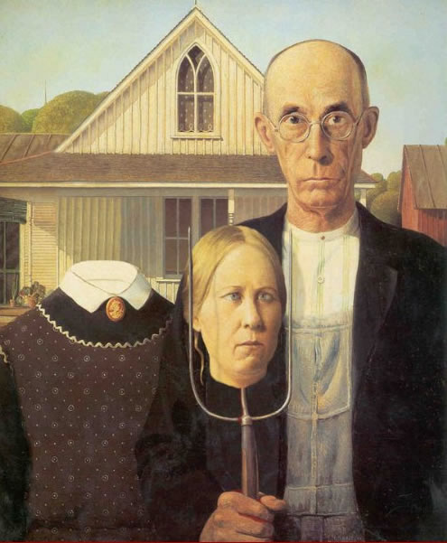 Farmer Pitchfork Famous Painting Wife