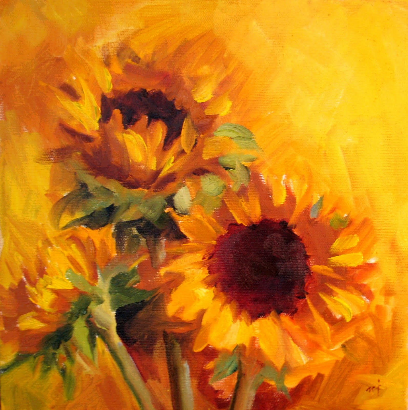 abstract sunflower paintings