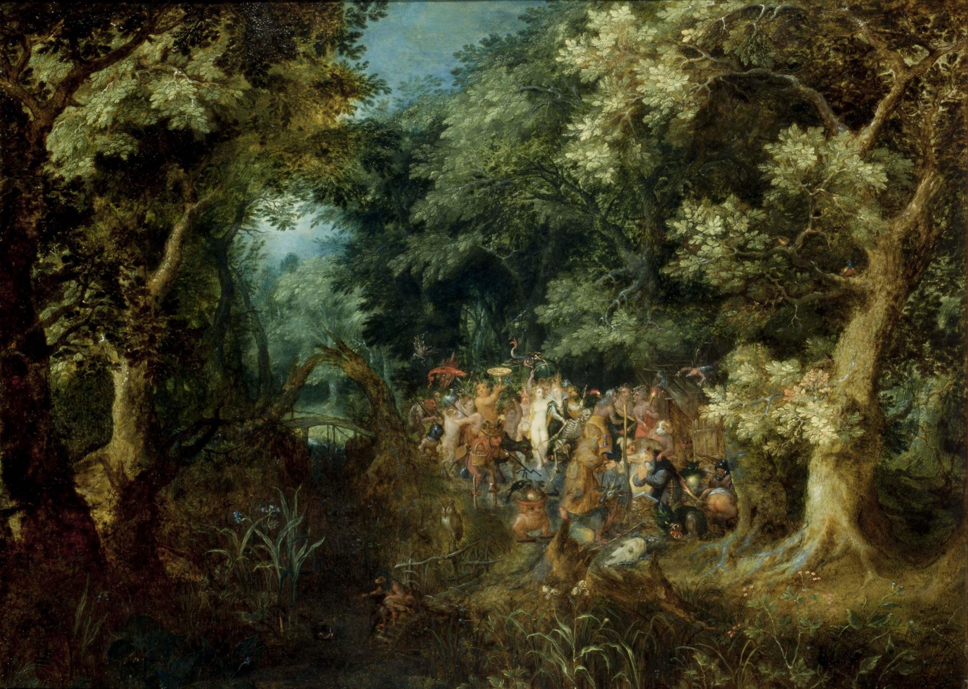 Jan Brueghel il Vecchio  Paesaggio boscoso con la