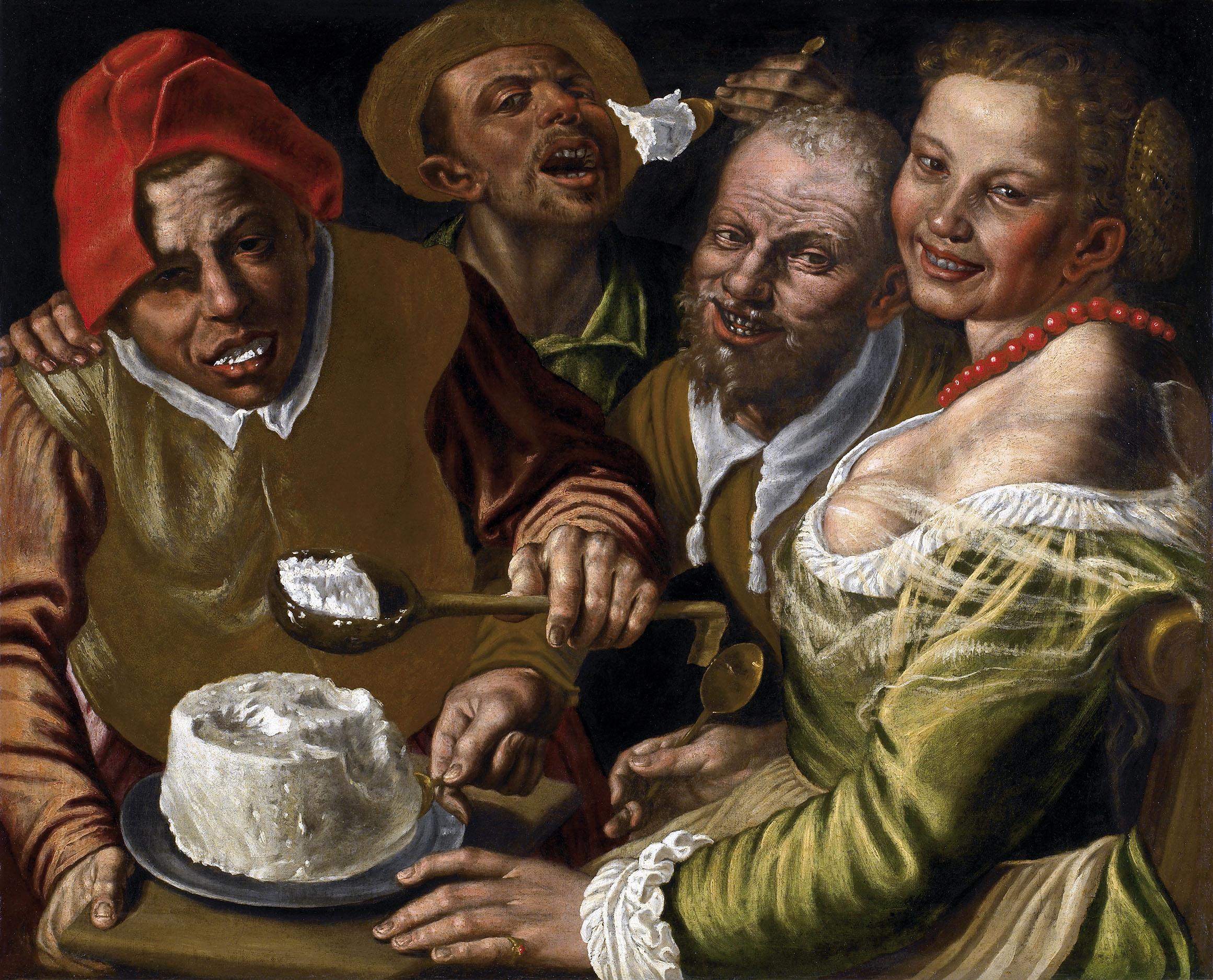 Vincenzo Campi Mangiatori di ricotta olio su tela 72 x