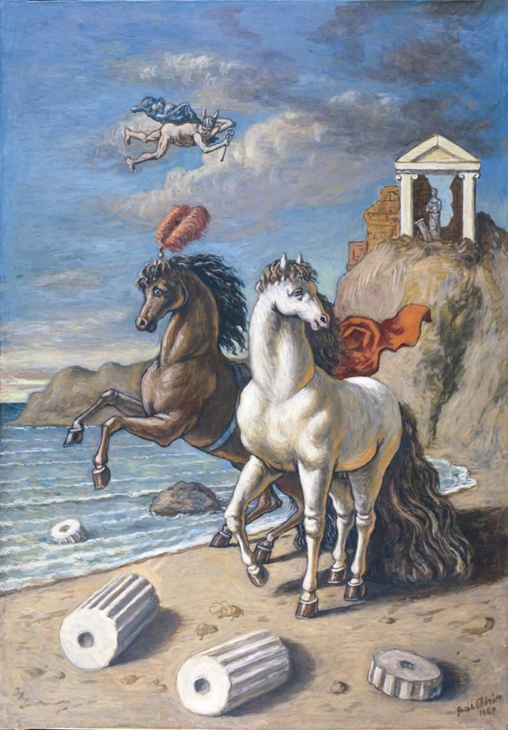 Giorgio de Chirico Cavalli con aigrettes e mercurio 1965  olio su tela  Artribune