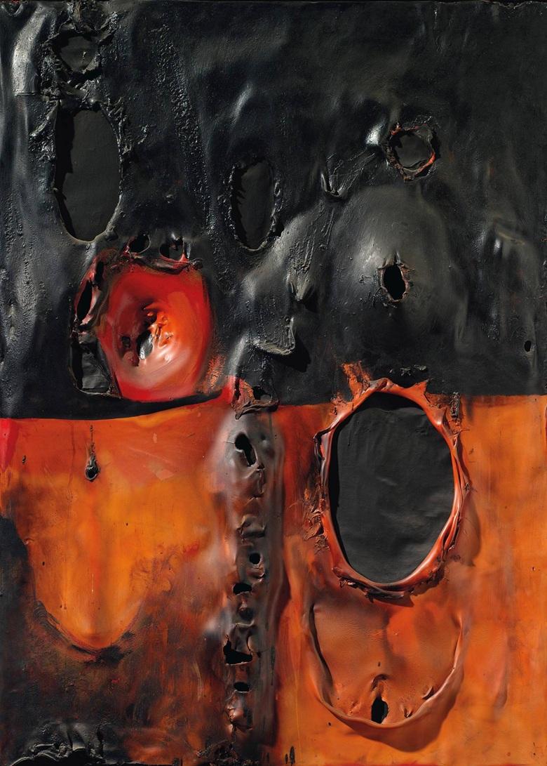 Alberto Burri Rosso Combustione Plastica 1957  courtesy