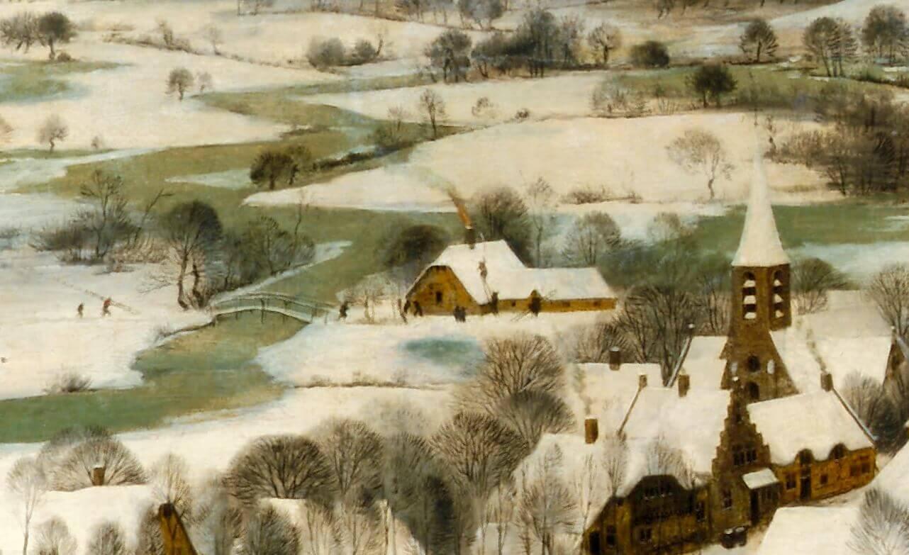 Брейгель фрагмент охотники на снегу