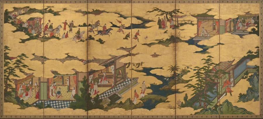 Кано Мицунобу. Сцены из жизни императора Мин Хуана и его любимой наложницы, Ян Гуйфэй.