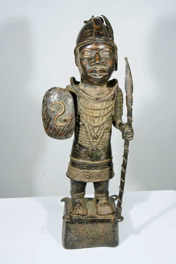 African Ife Bronze Warrior Statue Nigeria 1203-007 750 Art Masks And Statues