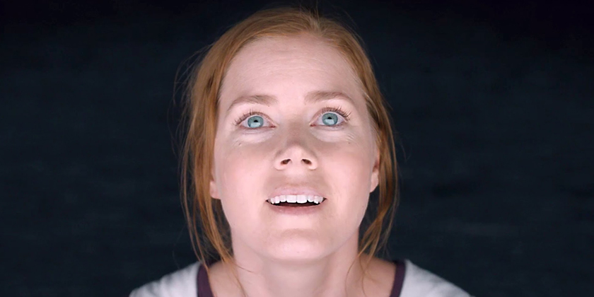 Dr. Louise Banks (Amy Adams) looks on in awe at the challenges ahead