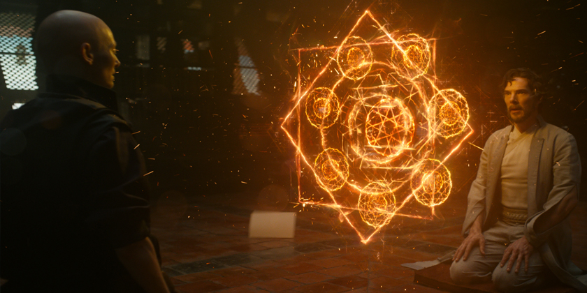 The Ancient One (Tilda Swinton) creates some magical shapes for Dr. Stephen Strange (Benedict Cumberbatch)