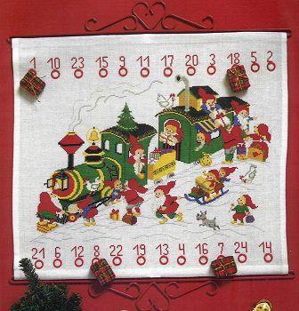 Christmas Train With Elves Advent Calendar Cross Stitch