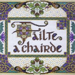 A Chairde Garden Table And Chairs Welcome Friends Failte Cross Stitch Kit By Design Works Left Click To Enlarge The Image Right Reduce