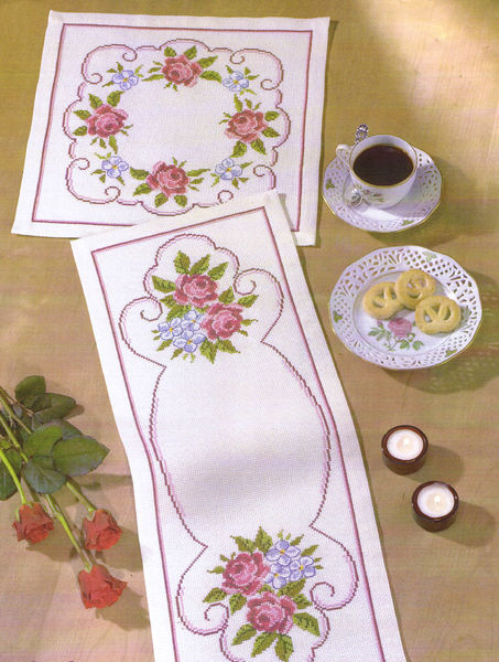 Roses And Forget Me Not Table Runner Cross Stitch Kit By