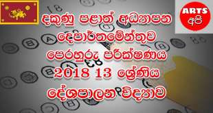 Southern Province Practice Test Political Grade 13 2018 Paper